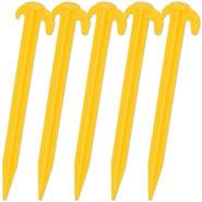 VOSS.farming 5x Heringe 19,5cm, Bodenanker mit Doppelhaken, gelb