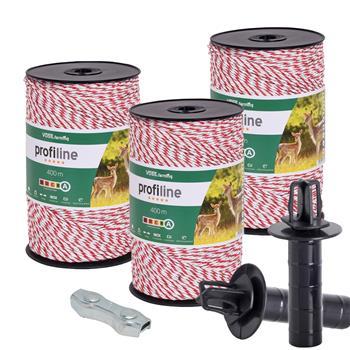 3x VOSS.farming Weidezaunlitze 400m, 3x 0,25 Kupfer + 3x 0,20 Niro, inkl. 5x Verbinder & Warnschild