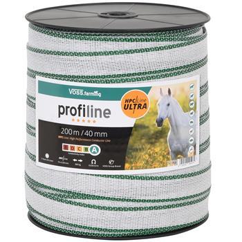 VOSS.farming Weidezaunband 200m, 40mm, 10x0,40 HPC/Ultra, weiß-grün