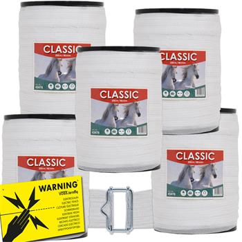 "5x Weidezaunband ""CLASSIC"" 200m, 40mm, 8x0,16 Niro, weiß (inkl. 5 Verbinder & Warnschild)"