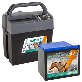 """VOSS.farming """"KAPPA 7"""" starkes Allround-Weidezaungerät 9V, 12V, 230V + High Energy Batterie 130Ah"""