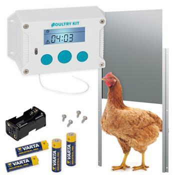 SET VOSS.farming Poultry Kit - automatische Hühnertür, Hühnerklappe 220 x 330mm