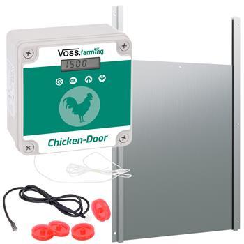 SET VOSS.farming Chicken-Door + Hühnerklappe, Alu 300 x 400mm
