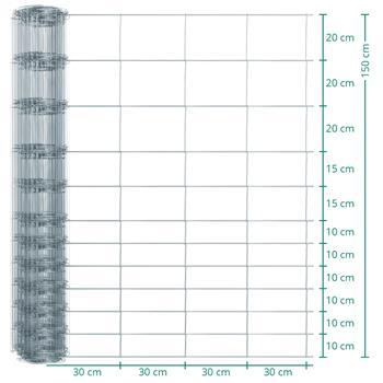 50m VOSS.farming Premium Wildzaun, Knotengeflecht, Höhe 150cm - 150/12/30
