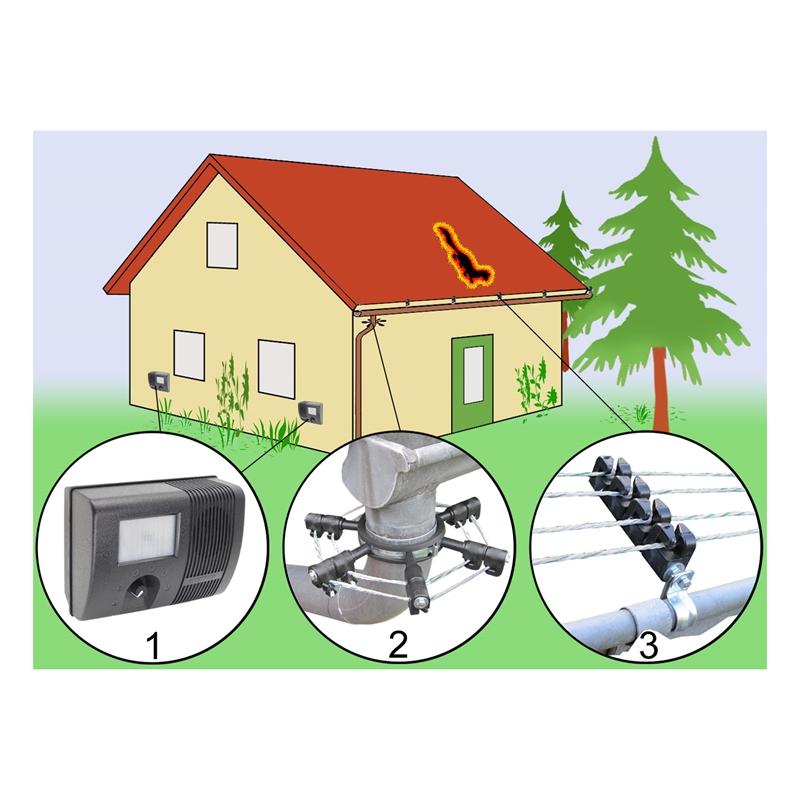 marder im haus komplettsystem zur marderabwehr mit 4er isolatoren. Black Bedroom Furniture Sets. Home Design Ideas